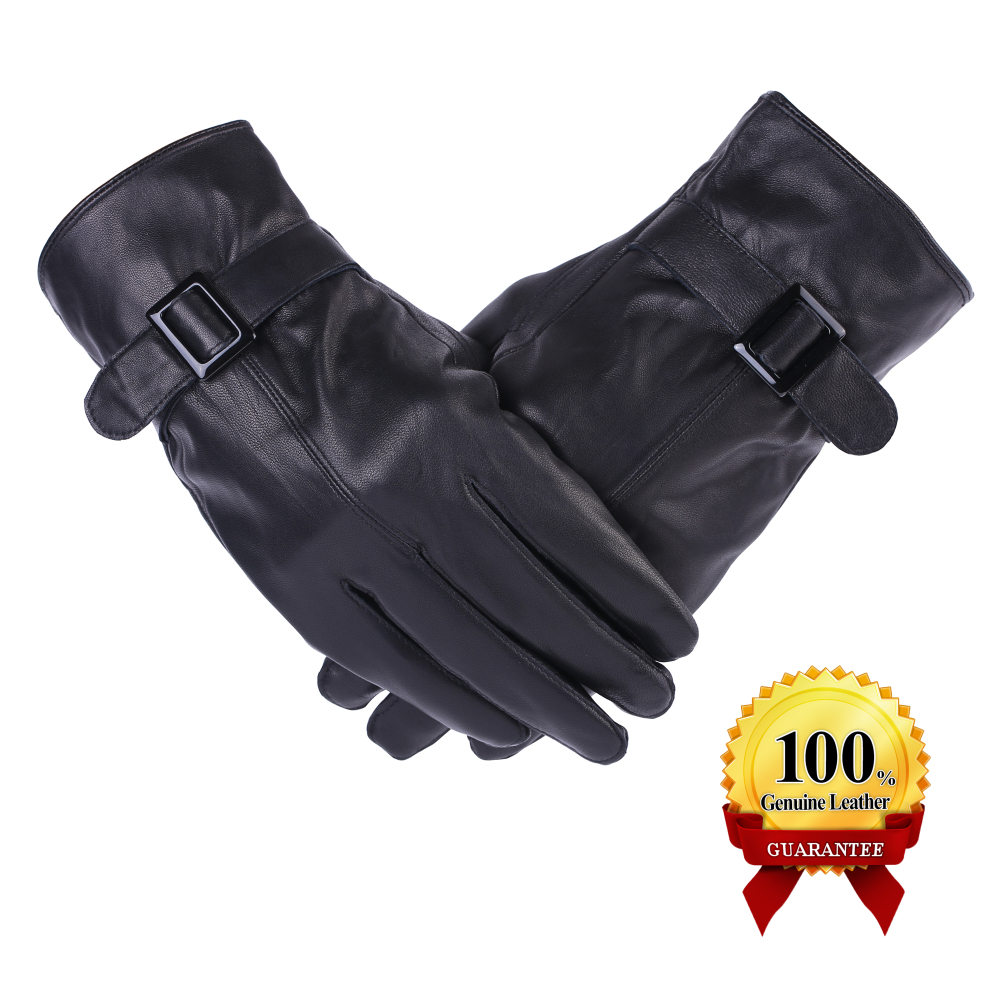 2018 Top Fashion Promotion Solid Wrist Fashion Men Fitness Gloves Mens Touch Screen Gloves Leather Thermal Lined Phone Texting