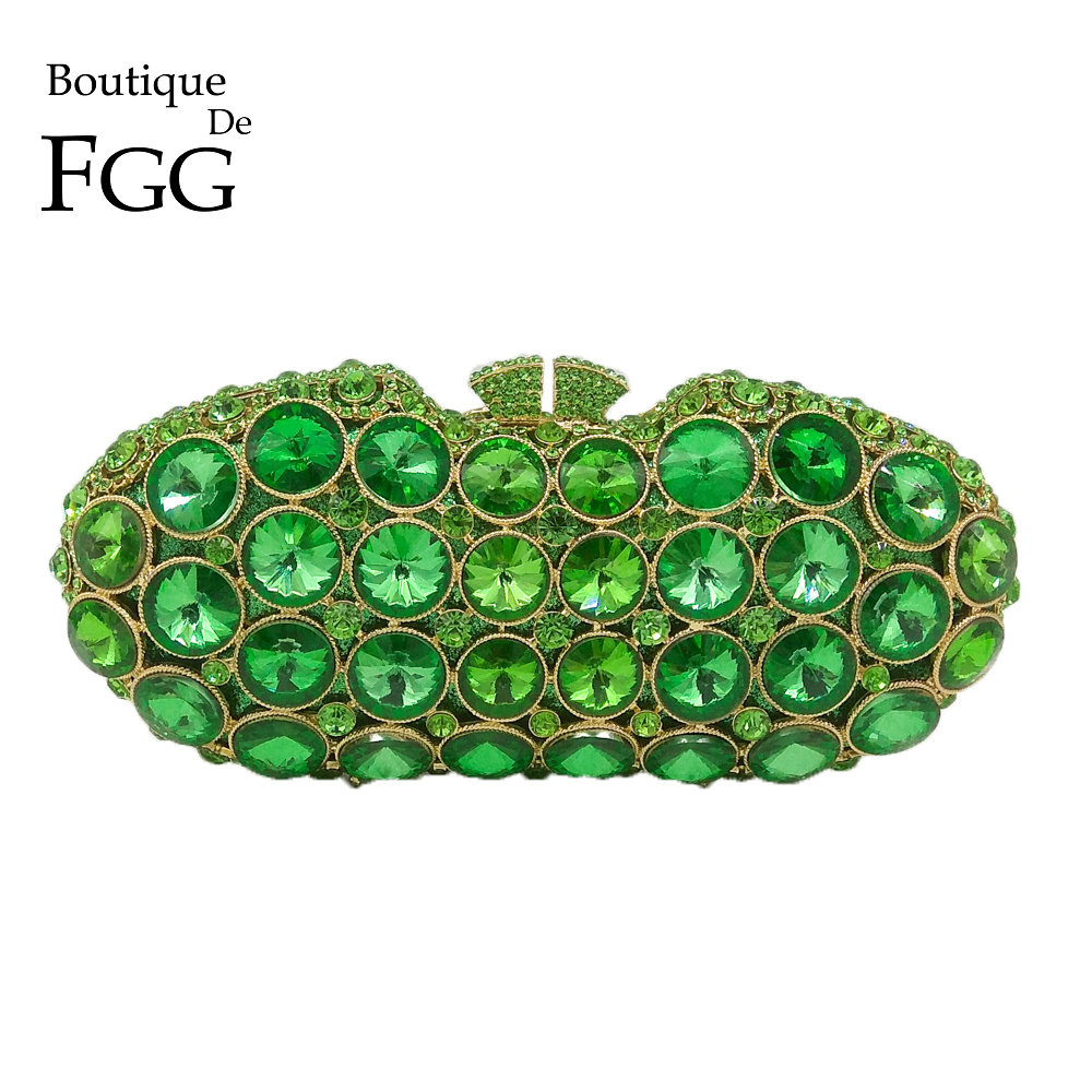 Boutique De FGG Elegant Green Diamond Evening Clutches Bag Women Fashion Wedding Party Handbag Purse Bridal Crystal Clutch