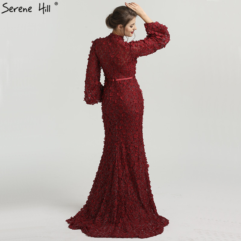 5b0b61bb7359b Flowers Pearls Long Sleeves Mermaid Evening Dresses Muslim Fashion Elegant  Tulle Evening Gowns 2019 Serene Hill LA6293