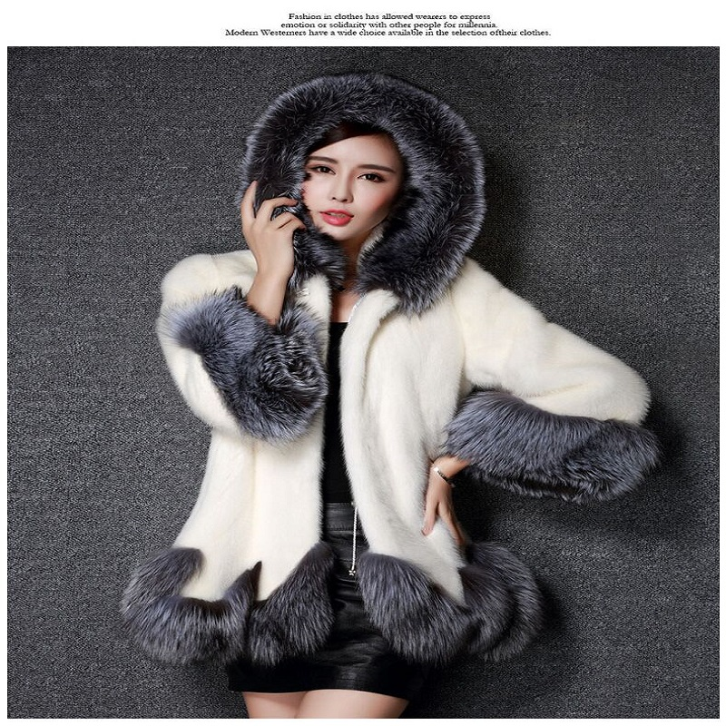learance sale high imitation of our Lady coat silver fox collar hooded rabbit  coat medium- long overcoat plus size winter coat