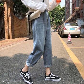 Women`s Plus Size Jeans Harem For Women Loose Vintage Light Blue Womens Pants Boyfriend Denim
