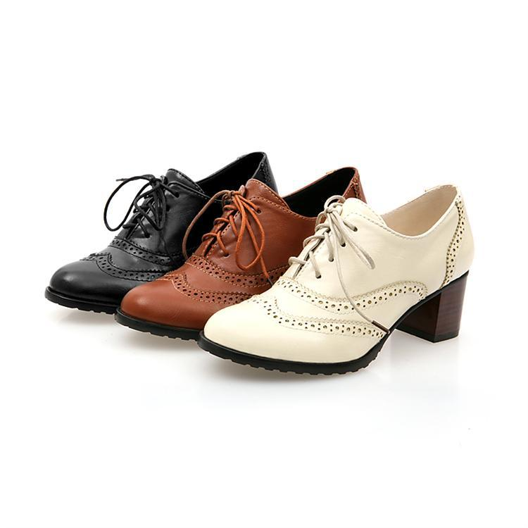 vintage style lace up thick heel boots shoes for