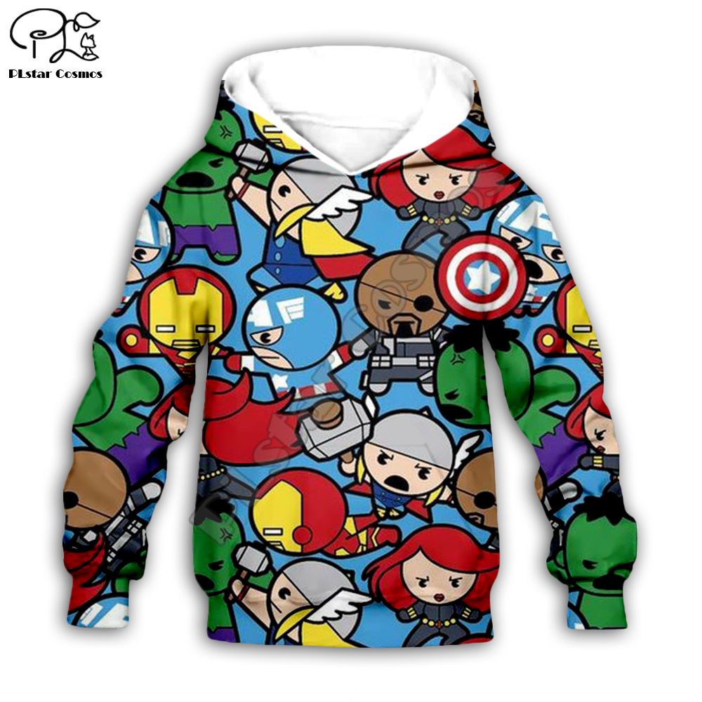 Boys Girls Hoodies Sweatshirts Avengers Endgame 3D Print Marvel Superhero Captain America Iron Man Hulk Pullover Kids Tracksuit