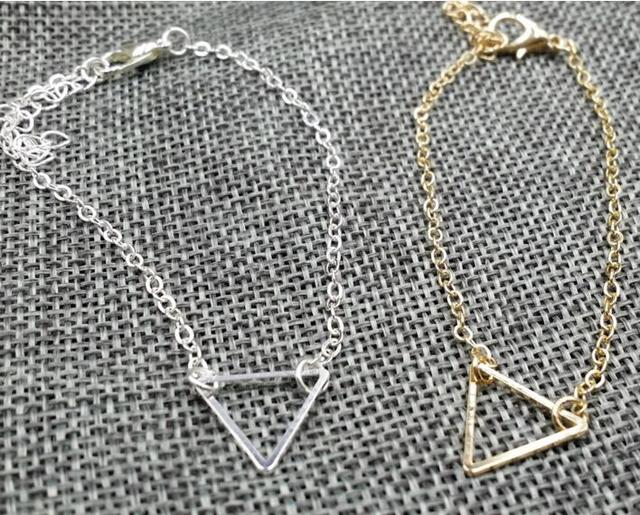 sl255 Europe and the United States newly listed fashion punk geometric alloy triangle shape Female charm Simple bracelet jewelry