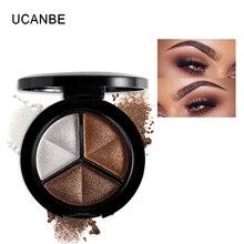 UCANBE Makeup Shimmer Eyeshadow Palette 3 Colors Smoky Cosmetics Set Professional Natural Matte Eye Shadow Sleek