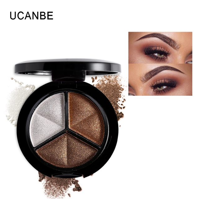 UCANBE Makeup Shimmer Eyeshadow Palette 3 Colors Smoky Cosmetics Set Professional Natural Matte Eye Shadow Sleek Palette Glitter 1
