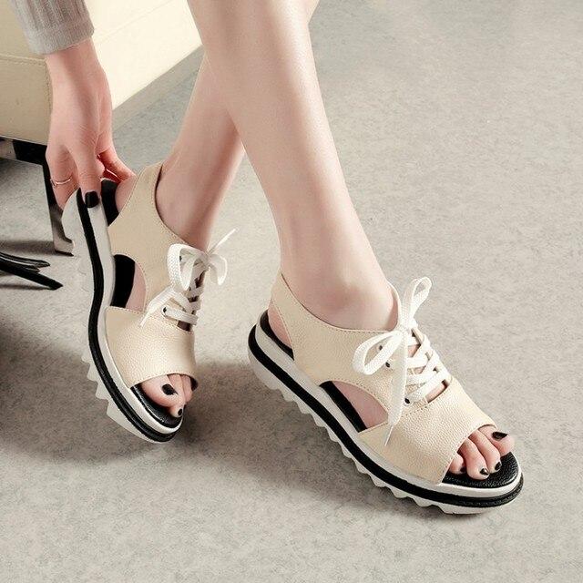 67af9b16ecc08 PXELENA 2018 Summer Hot Collegiate School Girls Sandals Flat Platform Peep  Toe Women Sandals Lace Up Casual Comfort Shoes 34-43