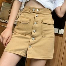 Candy Color Summer Jeans Skirt Women Casual Korean Single-breasted A-line Denim Skirt Women Vintage Pocket High Waist Skirt