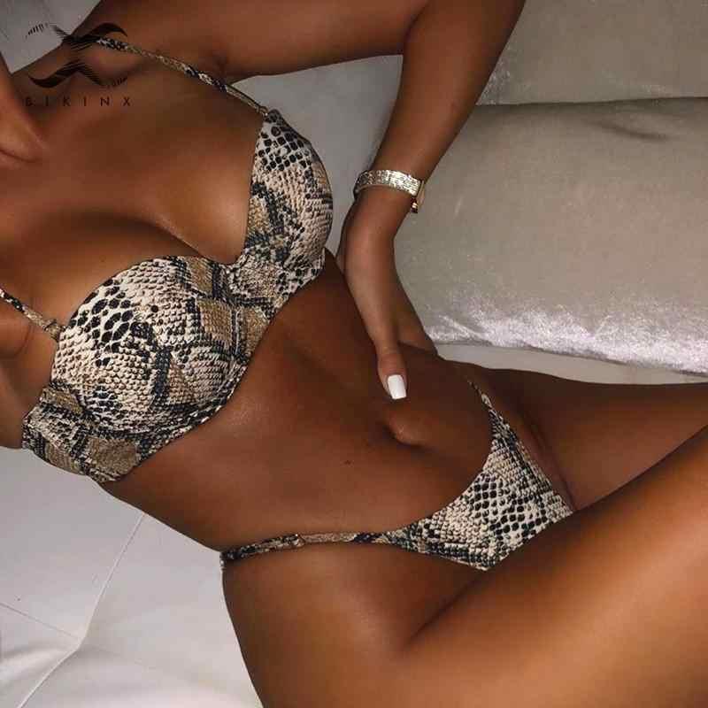 Serpent imprimé bikini Push up maillot de bain femme maillot de bain String brésilien bikini 2019 taille haute maillots de bain femmes Sexy biquini