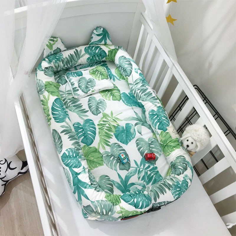 CACX Dismountable Baby Nest Bed Or Toddler Size Nest, Mint And Owls, Portable Crib Co Sleeper Babynest For Newborn And Toddlers