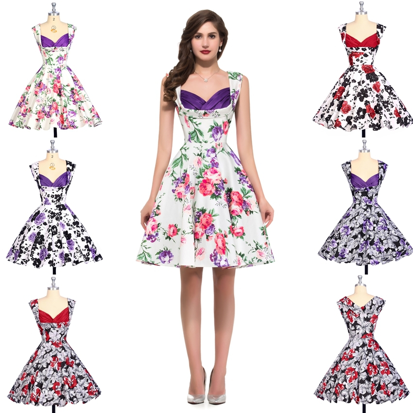 Summer Style Flora Print Women Dress 2015 Ball Gown Cotton Dress ...