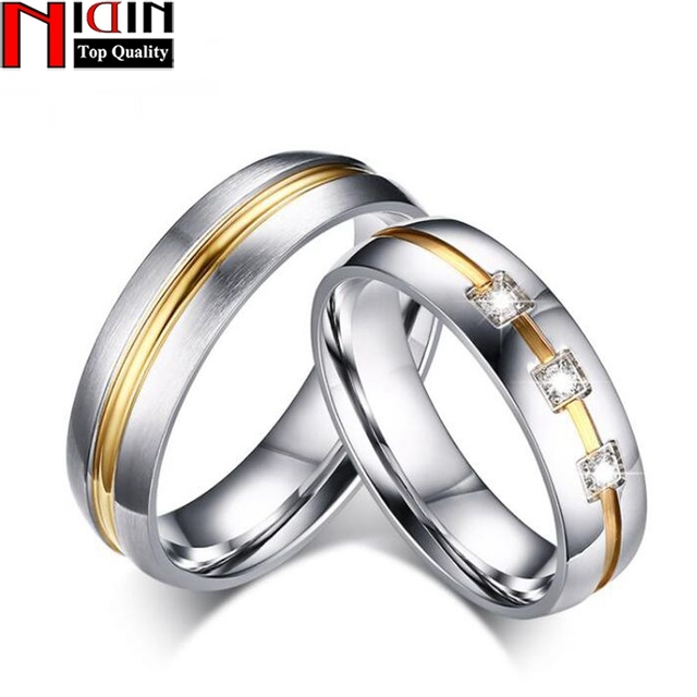 NIDIN Vintage Wedding Ring for Women Men CZ Stone 316l Stainless Steel Metal mal