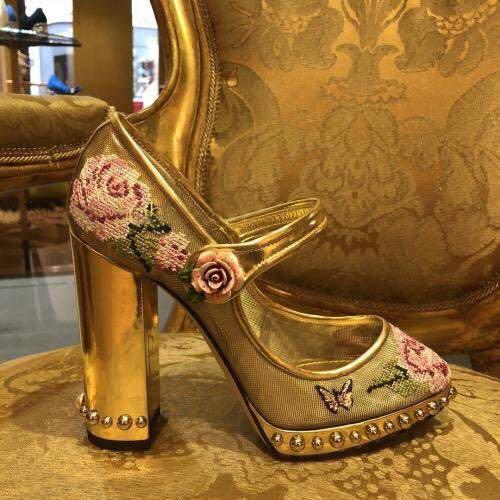 De Fête Pompes Mariage Janes Rivet Pic Bout Épais Floral Rond Chaussures Femmes Mary Broder Or As Tenue Pour Talons Maille Piste Iqv08S