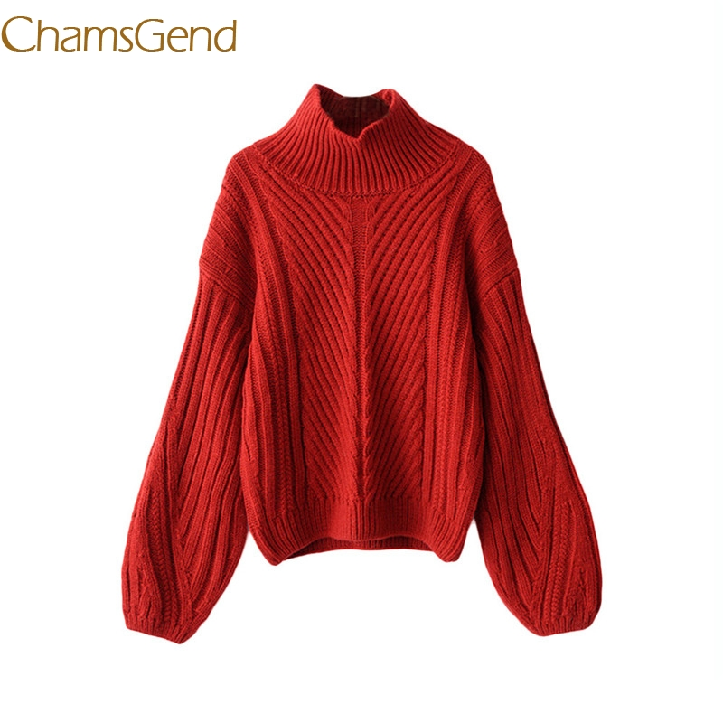 Chamsgend christmas pullovers 2017 turtleneck Lantern Sleeve Knitted women sweater jersey blouse 99#