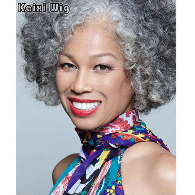 Short Curly Gery Wig Short Haircut For Women Grey Ombre Synthetic