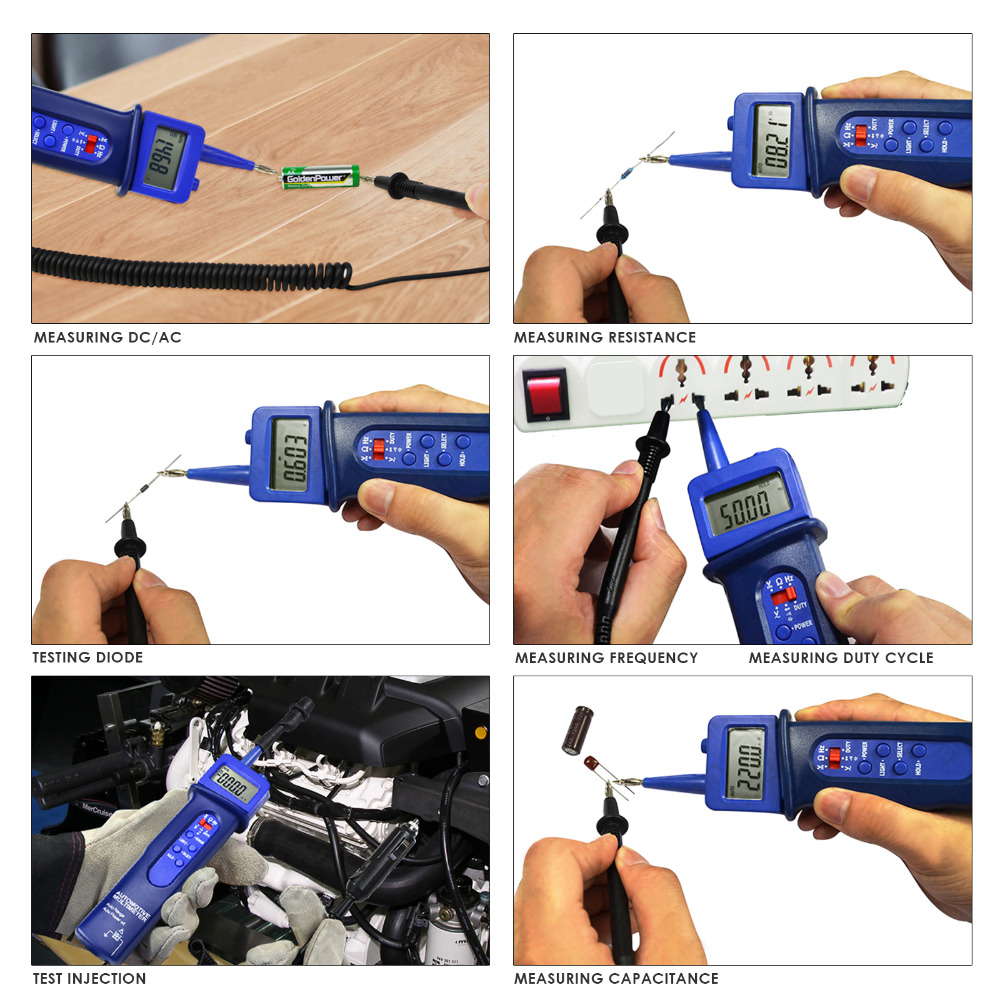 Pen Style Automotive Multimeter Car Application Test Voltage DC/AC Frequency Resistance Digital Tester automotive multimeter test vehicle car battery dc ac voltage frequency resistance diode pen style tester