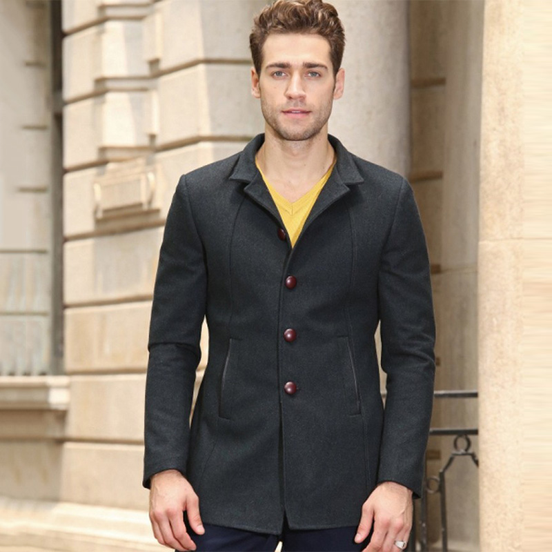 2017 Best Quality Men Slim Fit Suits X-long Jacket worsted Men winter coat Stand Collar design 5 buttons Fashion Blazer Hombre