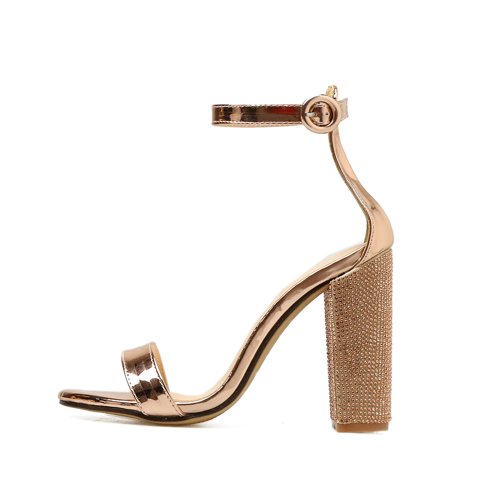 Mature Round Toe patent summer sandals rose gold crystal block heel shiny beautiful party sandals women shoes material buckle in High Heels from Shoes