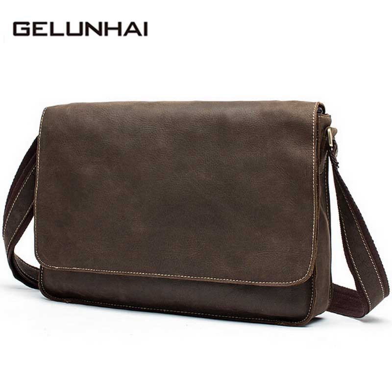 2017 Time-limited New Arrival Polyester Man Bag Crazy Horse Leather Shoulder Genuine Cowhide Men Messenger Bags Crossbody Male