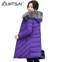 JOLINTSAI New Winter Coat Women Warm Winter Slim Jackets Female Fur Collar Hooded Parkas Coats Women