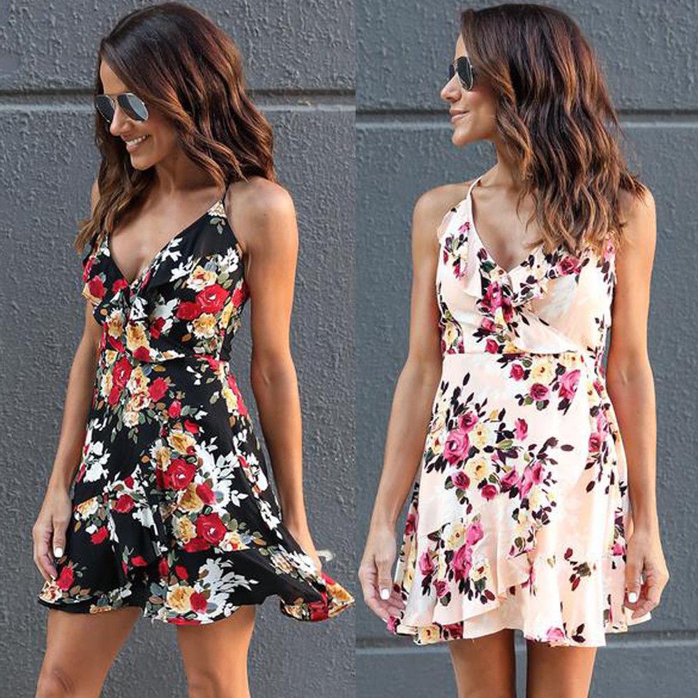 New Hot Women Summer Boho Short Mini Dress Evening Party Beach Dresses Sundress