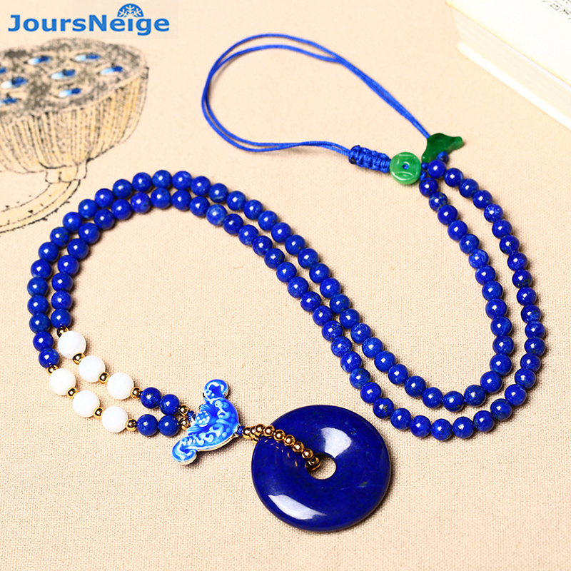 Wholesale Blue Ore Natural Stone Pendants Safe Buckle Pendant Beads Sweater Chain Necklace Lucky for Women Fashion Jewelry