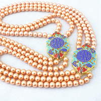 Charms 3rows 6mm multicolor imitation shell pearl gold color accessory anniversary Fashion high grade necklace 28 32B1191