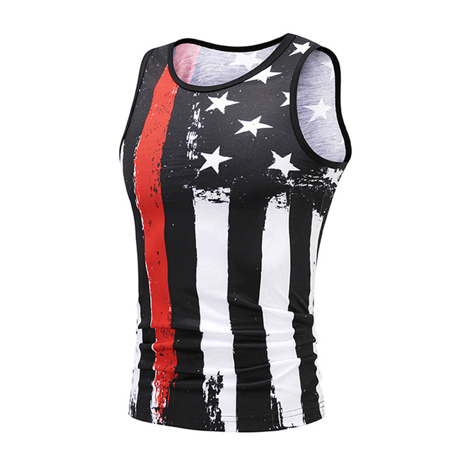 9cf1e64b2843d 3D Print Male Tank Tops Men s Compression Sleeveless Shirt American Flags  Dark Patriotic Design Bodybuilding Vest