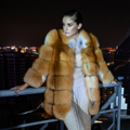 Qiu dong fox fur import long fox fur coat sleeve of the nine points in the whole skin red fox fur coat of fur coats