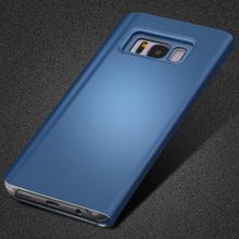 CTRINEWS Clear View Flip Case For Samsung Galaxy S7 Edge S8 S8 plus S6 Edge A3 A5 A7 2017 Mirror Smart Leather Phone Case Cover
