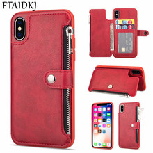 FTAIDKJ Wallet Flip PU Leather Zipper Case For iPhone XS Max XR 10 X Card Pocket Stand Cover 7 6 6S 8 Plus Coque