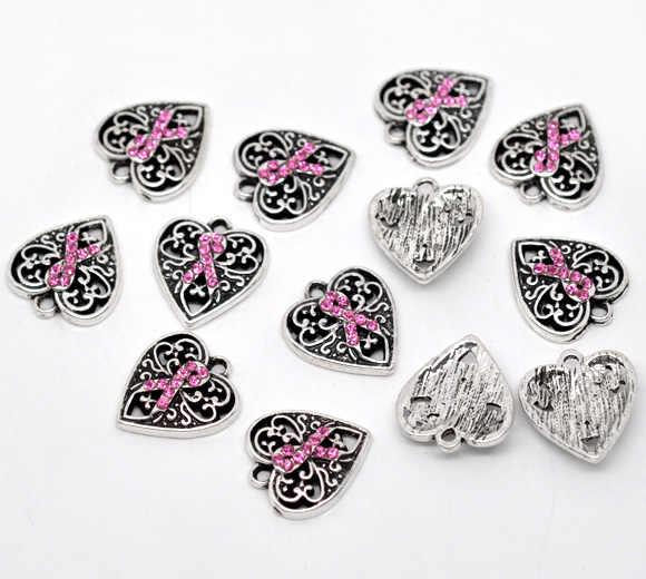 """קסם תליוני לב עתיק כסף יהלומים מלאכותיים סגסוגת אבץ מתכת DoreenBeads דפוס סרט ורוד ריינסטון 16 מ""""מ x 14 מ""""מ, 1 Piece"""