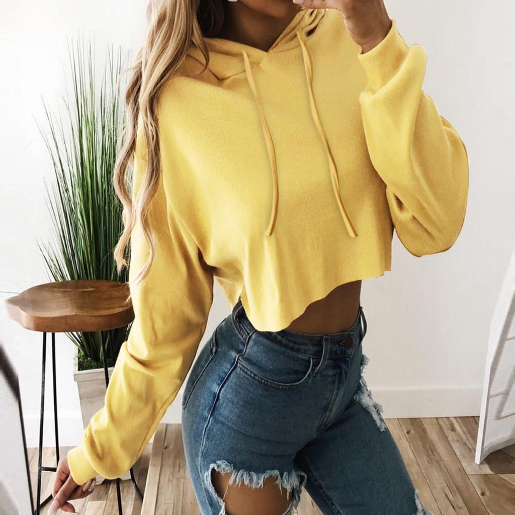 Women Autumn Spring Tops Drawstring Hooded Long Sleeve Hoodie Sweatshirts Crop Casual Outwear Pullover Hoodies #L10