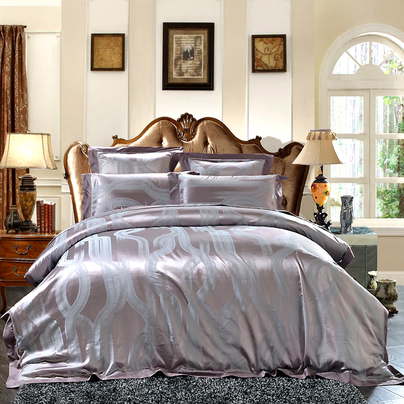 4 6Pcs Egyptian Cotton Mulberry Silk Luxury Bedding Set King size Ultra Soft Fitted sheet Bed