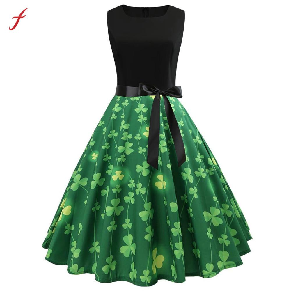 Dress St. Patrick's Day Women Sleeveless Shamrock Evening Party Swing Dresses Feitong elegant O-neck fashion Dress High Quality