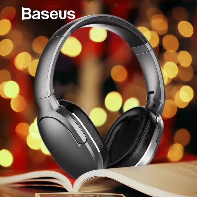 1a96b603599 Baseus D02 Bluetooth Headphone Portable Wireless Headset Adjustable  Earphones With Microphone for PC Phone Stereo Earphone
