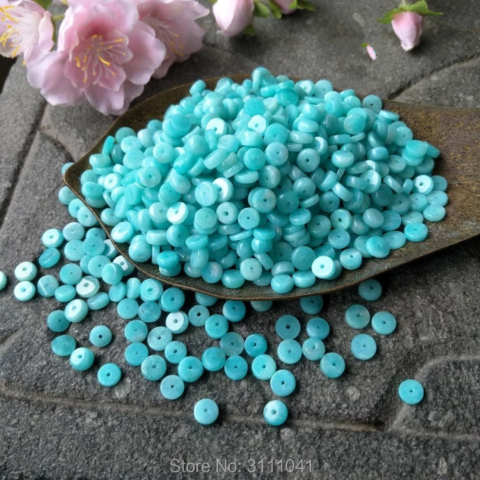 25pcs Amazonite Coin 6-8mm  FOR DIY Makeing Necklace   Wholesale Beads Nature FPPJ Woman 2017