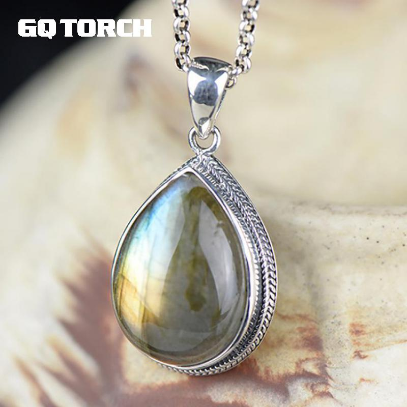 Real 925 Sterling Silver Natural Labradorite Pendant For Women Water Drop Shaped Moon Light Gemstone Fine