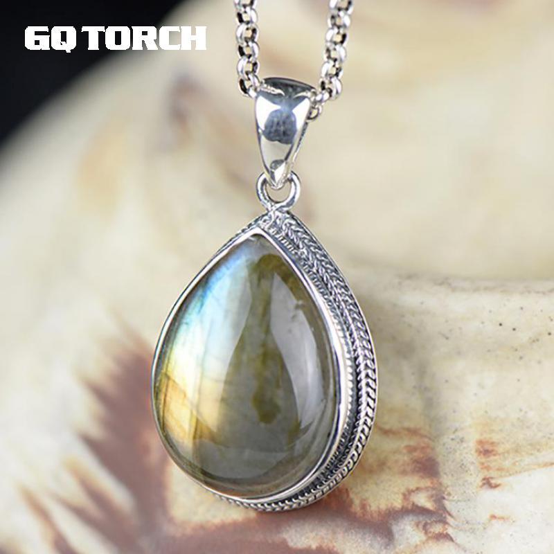 Настоящее 925 пробы серебро натуральный лабрадорит кулон для женщин капли воды в форме Луны свет драгоценных камней ювелирные украшения