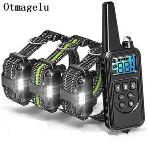 Image 1 - 800m elektryczna obroża do szkolenia psa z wyświetlaczem LCD Pet zdalnie sterowana wodoodporna obroża akumulatorowa do wibracji wstrząsów
