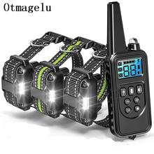 Coleira de adestramento canino elétrica, com tela LCD, alcance 800 m, à prova dágua e com controle remoto, recarregável, função vibração, choque e som, para cães