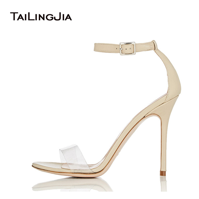 e9d6c0b0847 Women Black Faux Suede High Heel Transparent Clear PVC Ankle Strap Sandals  Ladies Beige Covered Extreme Summer Heels Plus Size