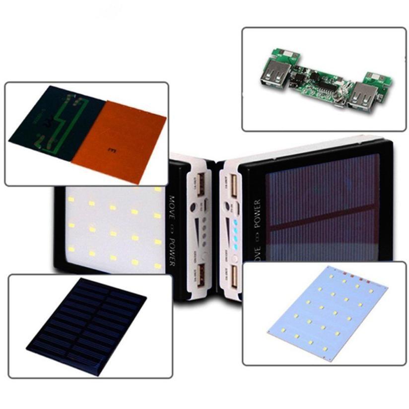 Fashion Solar LED Portable Dual USB Power Bank 5x18650 External Battery Charger DIY Box Case Power Bank kit with LED Light