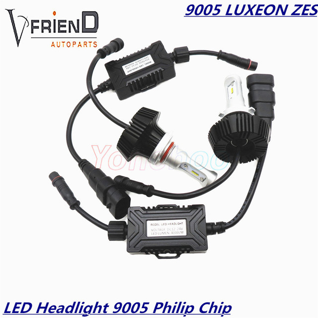 2x 9005 HB3 6000K Philip's Chip LUMILEDS LUXEON ZES Waterproof Car LED Headlight Kit All In One DC12-24V