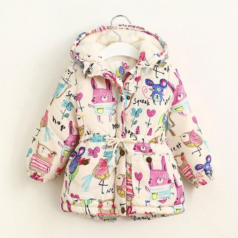Next 2016 Winter Kids Jackets Coats Girls Graffiti Parkas Hooded Baby Girl Warm Outerwear Cartoon Animal