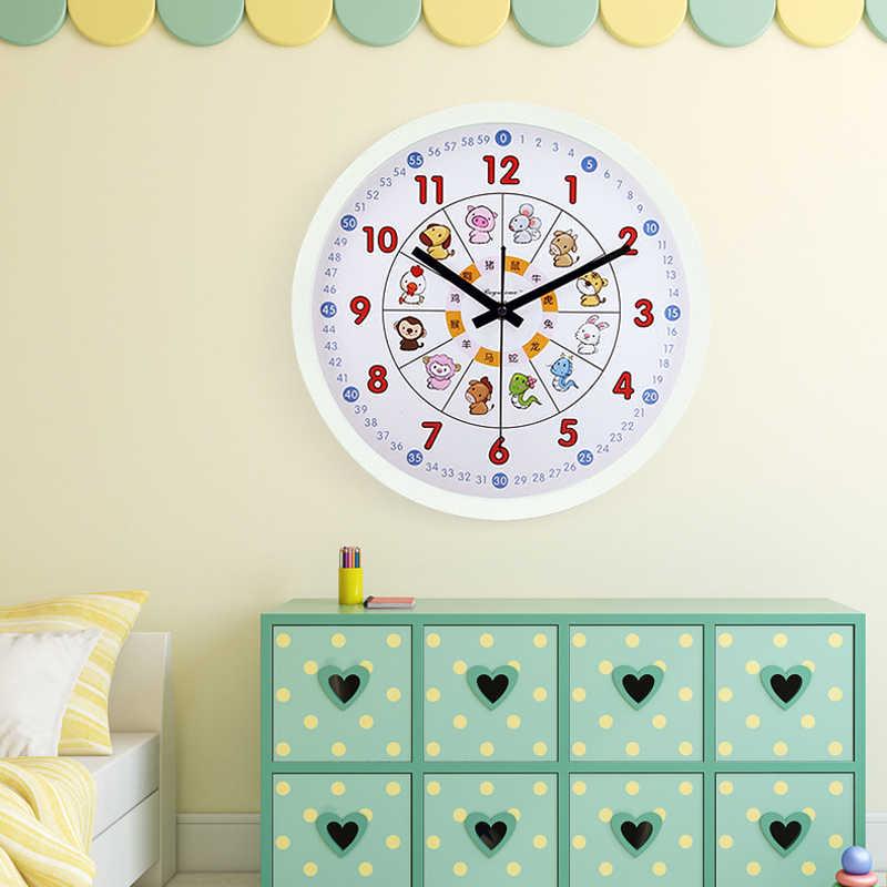 12 นิ้วการ์ตูนสัตว์เด็กพลาสติก Silent สั้นแขวนนาฬิกาสำหรับห้องนอนตกแต่งบ้าน 2 สีกรอบมของขวัญ