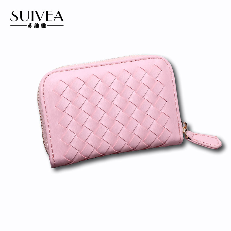 SUIVEA Brand 2017 Women Zipper Credit Card Holder Guarantee Great PU Leather Fashion Style Weave Knitting Craft ID Holder Bags