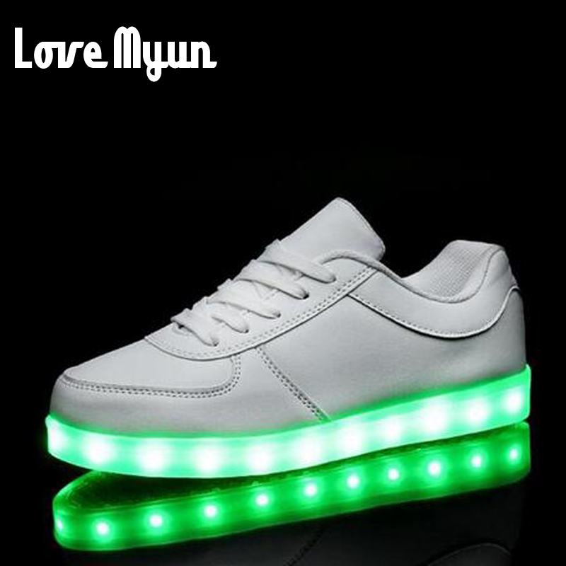 Brand Gold Sliver women 7 Colors luminous shoes LED glow sneakers USB rechargeable light shoes lantern lighted Low Shoes FF-11 longkeeper 6 colors led light flash baseball caps fashion led lighted glow club party sports black fabric travel hats chapeu