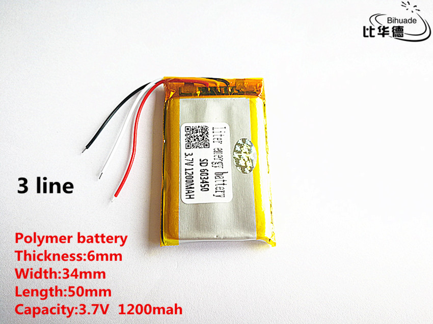 5pcs/lot 3 Line Good Qulity 3.7V,1200mAH,603450 Polymer Lithium Ion / Li-ion Battery For TOY,POWER BANK,GPS,mp3,mp4