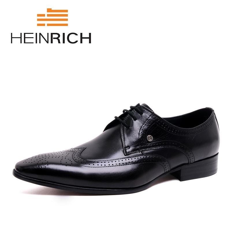 цена на HEINRICH Custom Handmade Men Shoe Men's Dress Office Shoes Men Black Luxury Genuine Leather Men Shoes Erkek Ayakkabi Deri